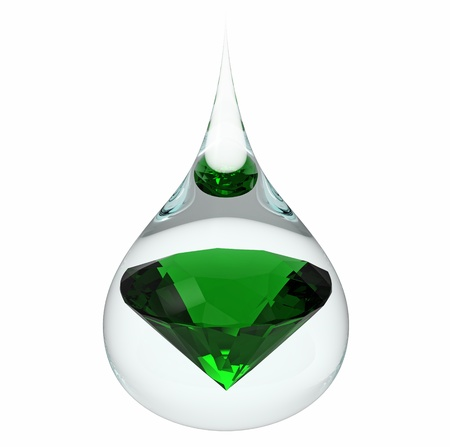 Model of a emerald jewel in a drop of water, isolated on white, 3d render 스톡 콘텐츠
