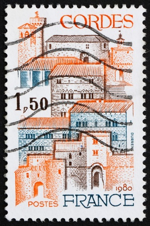 FRANCE - CIRCA 1980: a stamp printed in the France shows View of City of Cordes, France, circa 1980 Stock Photo - 12840090