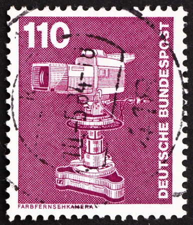 GERMANY - CIRCA 1982: a stamp printed in the Germany shows Color TV Camera, circa 1982 photo