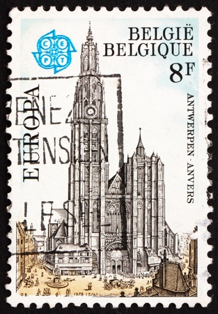 BELGIUM - CIRCA 1978: a stamp printed in the Belgium shows Antwerp Cathedral, Belgium, circa 1978 Stock Photo - 12945516