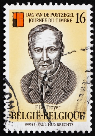 frans: BELGIUM - CIRCA 1995: a stamp printed in the Belgium shows Frans de Troyer, Clergyman, Philatelic Collector, circa 1995 Editorial