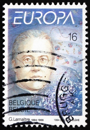 georges: BELGIUM - CIRCA 1994: a stamp printed in the Belgium shows Abbe Georges Lemaitre, Proposed Big-Bang Theory of Origins of Universe, circa 1994