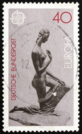 GERMANY - CIRCA 1974: a stamp printed in the Germany shows Kneeling Woman, Sculpture by Lehmbruck, circa 1974