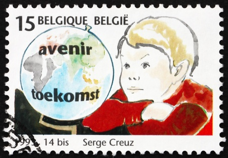 BELGIUM - CIRCA 1993: a stamp printed in the Belgium shows Globe and Child, Children, Future Decision-makers, circa 1993 photo