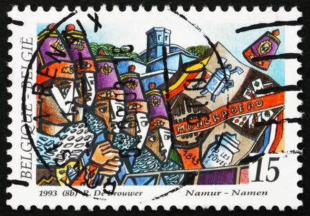 BELGIUM - CIRCA 1993: a stamp printed in the Belgium shows Royal Moncrabeau Folk Group, Namur, Folklore, circa 1993