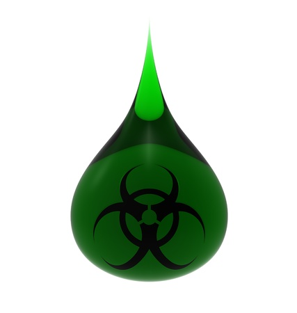 Biohazard sign in green drop, isolated on white 3d render photo