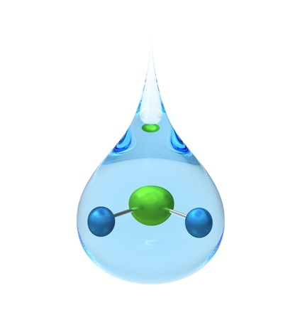 Model of a H2O molecule in a drop of water, isolated on white, 3d render photo