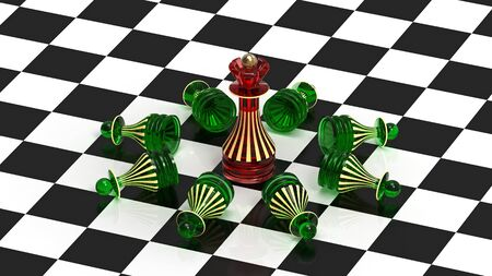 The queen always wins, chess concept, 3d render photo