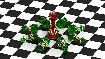 The queen always wins, chess concept, 3d render Stock Photo - 12945989