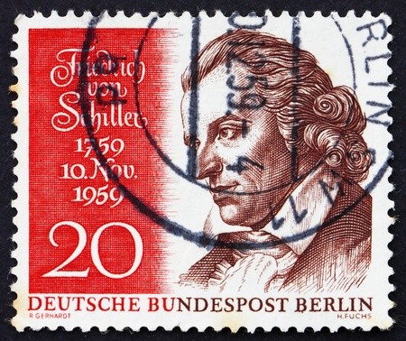 GERMANY - CIRCA 1959: a stamp printed in the Germany, Berlin shows Friedrich von Schiller, poet and writer, circa 1959