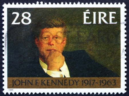 IRELAND - CIRCA 1988: a stamp printed in the Ireland shows John F. Kennedy, Portrait by James Wyeth, 35th President of USA 1961-1963, circa 1988 Stock Photo - 12935942