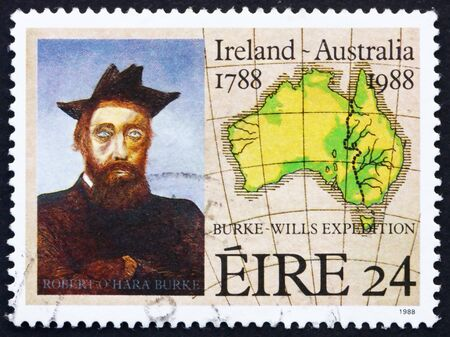 IRELAND - CIRCA 1988: a stamp printed in the Ireland shows Robert O�Hara Burke, painting by Sir Sidney Nolan, 19th Centenary Map of Australia, circa 1988