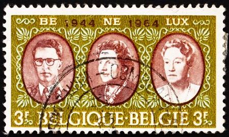 baudouin: BELGIUM - CIRCA 1964: a stamp printed in the Belgium shows King Baudouin, Queen Juliana and Grand Duchess Charlotte, Benelux, circa 1964