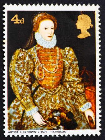 queen elizabeth: GREAT BRITAIN - CIRCA 1968: a stamp printed in the Great Britain shows Elizabeth I, 1575, artist unknown, circa 1968 Editorial