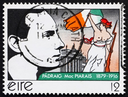 rebellion: IRELAND - CIRCA 1979: a stamp printed in the Ireland shows Patrick Henry Pearse, Irish Writer and leader of Easter Rebellion, circa 1979