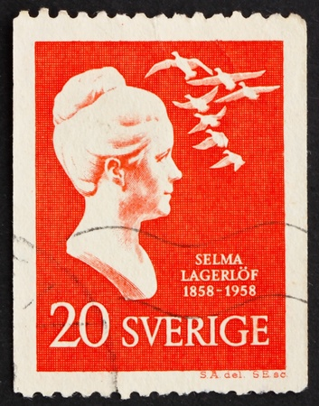 nobel: SWEDEN - CIRCA 1958: a stamp printed in the Sweden shows Selma Lagerlof, writer, centenary of birth, the first female winner of the Nobel Prize in Literature, circa 1958