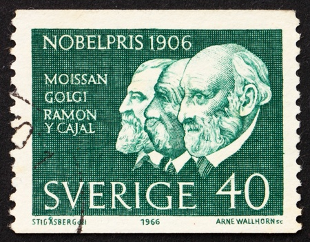 camillo: SWEDEN - CIRCA 1966: a stamp printed in the Sweden shows Moissan, Golgi and Ramon y Cayal, winners of the 1906 Nobel Prize, circa 1966