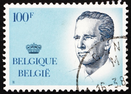 BELGIUM - CIRCA 1984: a stamp printed in the Belgium shows King Baudouin, Belgian king, circa 1984 Stock Photo - 13021511