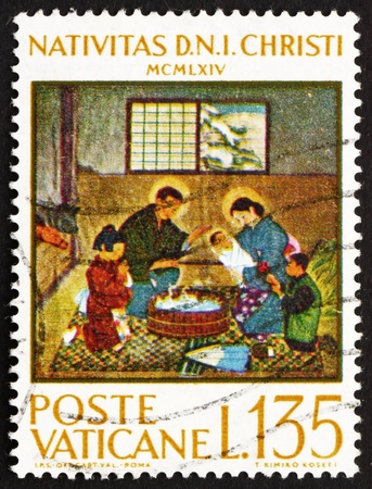 VATICAN - CIRCA 1964: a stamp printed in the Vatican shows Japanese Nativity Scene, by Kimiko Koseki, circa 1964 Stock Photo - 13021514