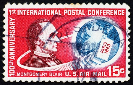 postmaster: UNITED STATES OF AMERICA - CIRCA 1963: a stamp printed in the USA shows Montgomery Blair, 20th US Postmaster General, 1861 – 1864, circa 1963 Editorial