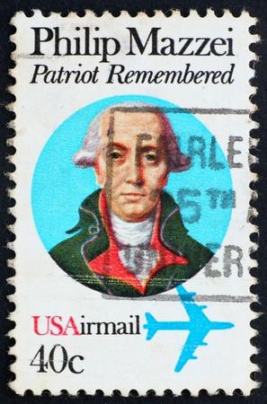 UNITED STATES OF AMERICA - CIRCA 1980: a stamp printed in the USA shows Philip Mazzei, Political Writer, circa 1980 Editorial