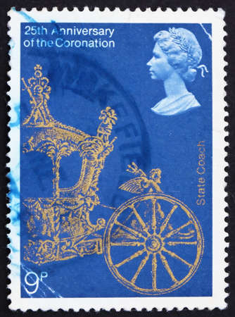 GREAT BRITAIN - CIRCA 1978: a stamp printed in the Great Britain shows Gold State Coach, 25th Anniversary of Coronation of Elizabeth II, circa 1978