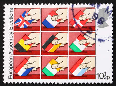 GREAT BRITAIN - CIRCA 1979: a stamp printed in the Great Britain shows Flags of European Community Members, 1979, first direct elections, circa 1979