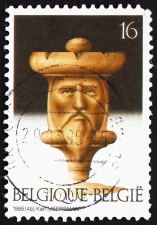 BELGIUM - CIRCA 1995: a stamp printed in the Belgium shows Chess Figure, Board Game, circa 1995