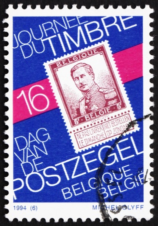 BELGIUM - CIRCA 1994: a stamp printed in the Belgium shows Reproduction of Stamp with King Albert I, 1912, circa 1994 Stock Photo - 13022840