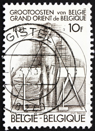 BELGIUM - CIRCA 1982: a stamp printed in the Belgium shows Man Taking Oath, Sesquicentennial of Grand Orient Lodge of Belgium, circa 1982
