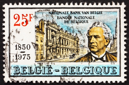 BELGIUM - CIRCA 1975: a stamp printed in the Belgium shows W. F. Orban, Founder of National Bank of Belgium, 125th Anniversary of Bank, circa 1975