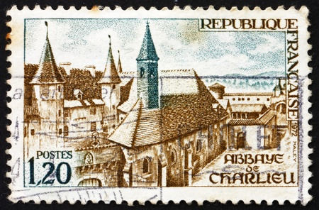 FRANCE - CIRCA 1972: a stamp printed in the France shows Charlieu Abbey, Charlieu, France, circa 1972