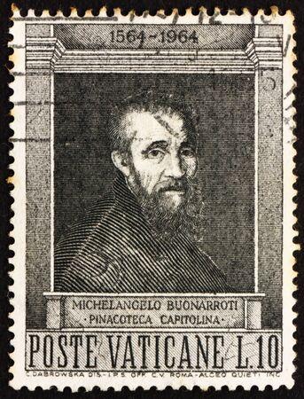 VATICAN - CIRCA 1964: a stamp printed in the Vatican Michelangelo Buonarroti, by Jacopino del Conte, circa 1964