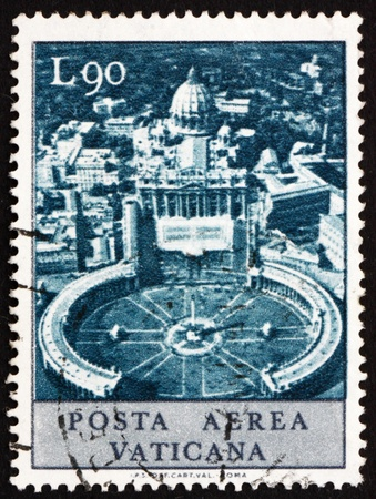 VATICAN - CIRCA 1967: a stamp printed in the Vatican shows Aerial View of St. Peter's Square and Vatican City, circa 1967 Stock Photo - 13140456