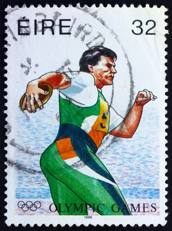 IRELAND - CIRCA 1996: a stamp printed in the Ireland shows Discobolus, 1996 Summer Paralympic Games, Atlanta, circa 1996
