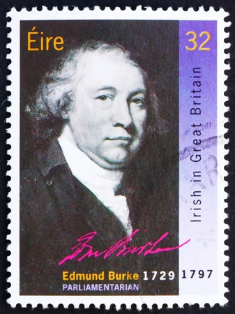 statesman: IRELAND - CIRCA 1990: a stamp printed in the Ireland shows Edmund Burke, Statesman and Political Theorist, circa 1990