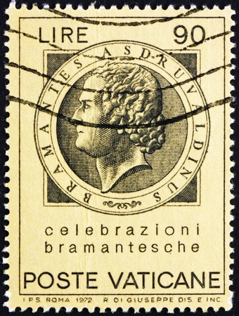 VATICAN - CIRCA 1972: a stamp printed in the Vatican shows Bramante, Donato d'Agnolo, Architect, circa 1972 Stock Photo - 13154867