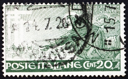 ITALY - CIRCA 1926: a stamp printed in the Italy shows St. Francis of Assisi and His Vision, circa 1926