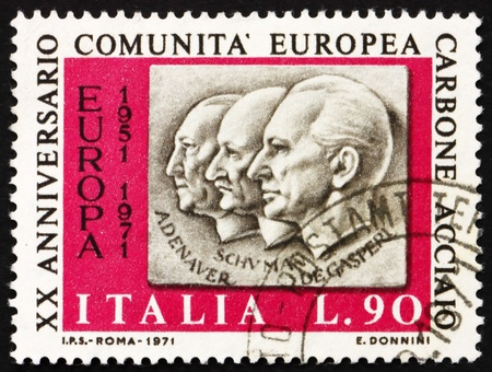 ITALY - CIRCA 1970: a stamp printed in the Italy shows Adenauer, Schuman, De Gasperi, 20th Anniversary of European Coal and Steel Community, circa 1970 Stock Photo - 13154866