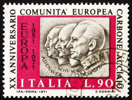 ITALY - CIRCA 1970: a stamp printed in the Italy shows Adenauer, Schuman, De Gasperi, 20th Anniversary of European Coal and Steel Community, circa 1970 Stock Photo - 13154866