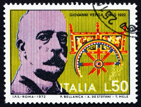 ITALY - CIRCA 1972: a stamp printed in the Italy shows Giovanni Verga and Sicilian Cart, writer and playwright, circa 1972 Stock Photo - 13154877