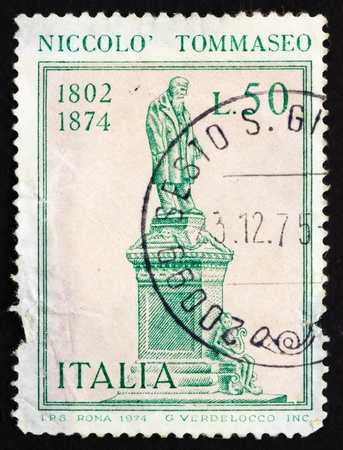 ITALY - CIRCA 1974: a stamp printed in the Italy shows Nicollo Tommaseo Statue, Writer, Venetian Education Minister, by Ettore Ximenes, Sibenik, Croatia, circa 1974 Stock Photo - 13182553