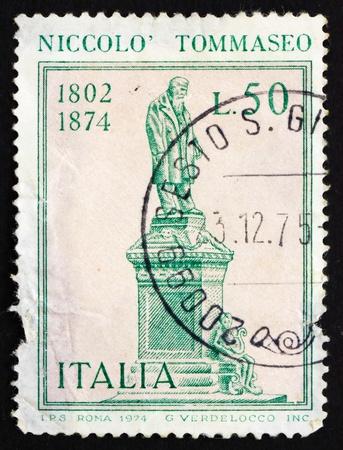 ITALY - CIRCA 1974: a stamp printed in the Italy shows Nicollo Tommaseo Statue, Writer, Venetian Education Minister, by Ettore Ximenes, Sibenik, Croatia, circa 1974 Stock Photo - 13182553