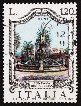 ITALY - CIRCA 1977: a stamp printed in the Italy shows Palm Fountain, Palmi, Italy, circa 1977