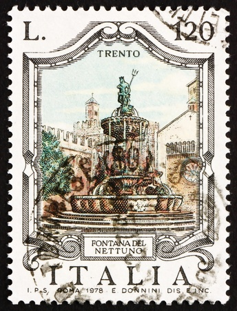 ITALY - CIRCA 1978: a stamp printed in the Italy shows Neptune Fountain, Trento, Italy, circa 1978 Stock Photo - 13257310