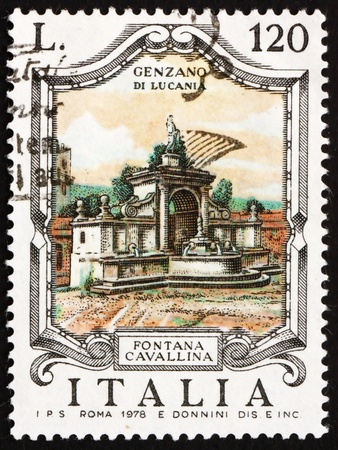 ITALY - CIRCA 1978: a stamp printed in the Italy shows Cavallina Fountain, Genzano di Lucania, circa 1978 Stock Photo - 13257307