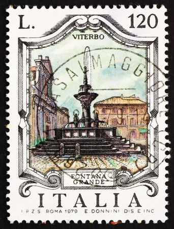 ITALY - CIRCA 1979: a stamp printed in the Italy shows Great Fountain, Viterbo, Italy, circa 1979 Stock Photo - 13257311