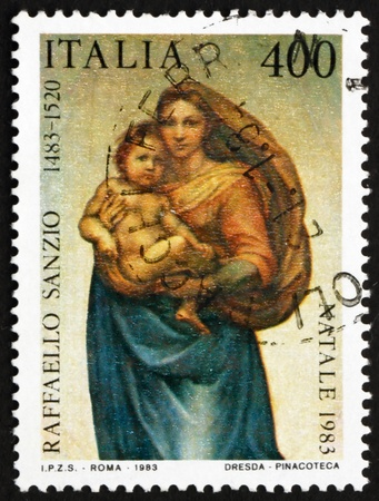 ITALY - CIRCA 1983: a stamp printed in the Italy shows Sistine Madonna, Painting by Raphael, circa 1983