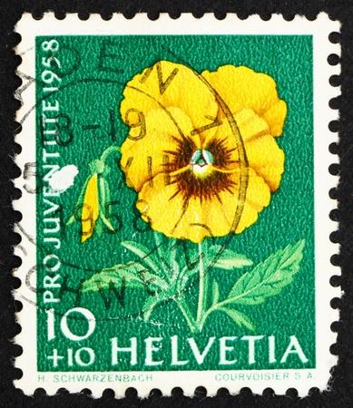 SWITZERLAND - CIRCA 1958: a stamp printed in the Switzerland shows Pansy, Viola Tricolor, Garden Flower, circa 1958