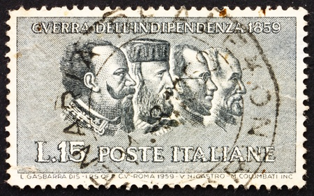 ITALY - CIRCA 1959: a stamp printed in the Italy shows Victor Emanuel II, Garibaldi, Cavour, Mazzini, Centenary of the War of Independence, circa 1959 Stock Photo - 13257349